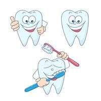 Arte sul tema dell'odontoiatria infantile. Denti sani e bei del fumetto sveglio. vettore
