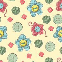 Carino seamless pattern di gomitoli di lana, bottoni, matasse di filati o maglieria e uncinetto.