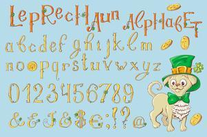 Lettere d'oro di un giorno di San Patrizio. Set di alfabeto.