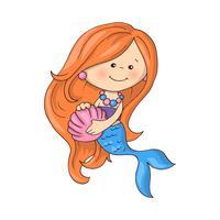 Piccola sirena carina con pesci e conchiglie. vettore