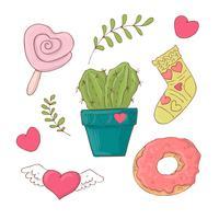 Set di oggetti simpatici cartoni animati per San Valentino con accessori. vettore