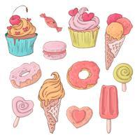 Set di dolci simpatico cartone animato per San Valentino con accessori. vettore