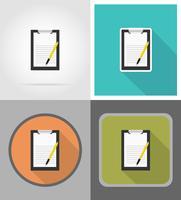 le icone piane della penna e della lavagna per appunti vector l'illustrazione