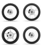 La gomma della ruota del motociclo dalle icone dell'insieme di disco vector l'illustrazione