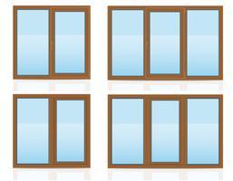 finestra trasparente di plastica marrone vista all'interno e illustrazione vettoriale all'aperto