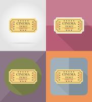 illustrazione piana di vettore delle icone del biglietto del cinema