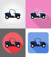 illustrazione di vettore delle icone piane delle strade del buggy dell'automobile di atv