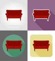 illustrazione piana di vettore delle icone dell'insieme della mobilia del sofà