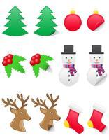 etichette di icone per Natale e Capodanno illustrazione vettoriale