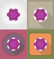 illustrazione di vettore delle icone piane del casinò del chip