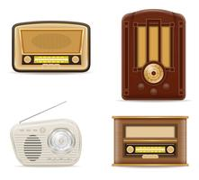 vecchia illustrazione di vettore delle icone della retro retro annata radiofonica delle azione