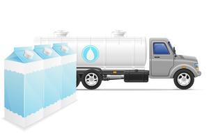 consegna e trasporto del camion del carico dell'illustrazione di vettore di concetto del latte