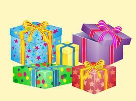 molte scatole per regali vettore