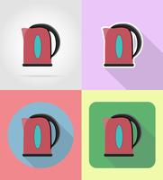 gli elettrodomestici del bollitore per le icone piane della cucina vector l'illustrazione