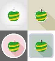 mela e icone piane di misurazione nastro vettoriale illustrazione