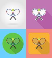 le icone piane della racchetta e della palla di tennis vector l'illustrazione