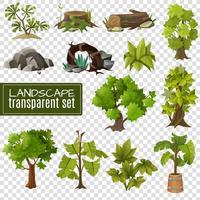 Insieme di elementi di design del paesaggio sfondo trasparente vettore