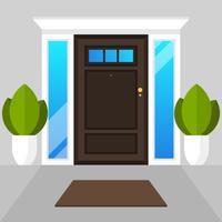 Illustrazione semplice moderna piana di vettore della casa delle porte