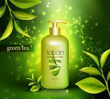 Lozione con illustrazione di tè verde vettore