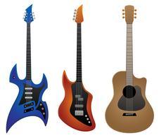 Electric Rock Guitar, Bass Guitar e Acoustic Guitar Vector Illustration