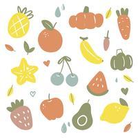disegno di raccolta vettoriale di frutta