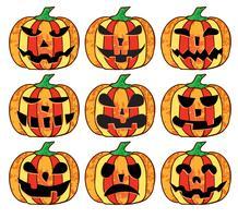 Un set di zucche di halloween vettore