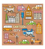 Città in stile cartone animato vettore