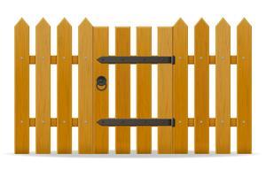 recinzione in legno con illustrazione vettoriale wicket porta