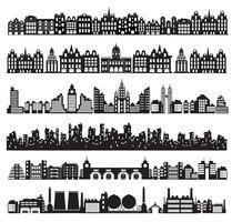 Città set case vettore