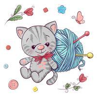 Metti gattino e un gomitolo per lavorare a maglia. Disegno a mano Illustrazione vettoriale