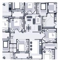 Gray House Plan vettore