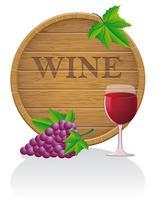 illustrazione di legno EPS10 di vettore del barilotto di vino e di vetro