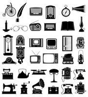 grande insieme di molti oggetti retrò vecchio vintage icone vettoriali stock illustrazione