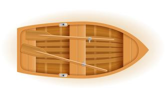 illustrazione di legno di vettore di vista superiore della barca