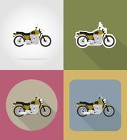 illustrazione di vettore di icone piane del motociclo