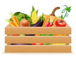 scatola di legno con illustrazione vettoriale verdure fresche e sane
