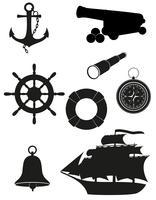 insieme della siluetta nera dell'illustrazione di vettore delle icone antiche del mare