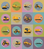 il trasporto di automobile per le icone piane della costruzione e della riparazione vector l'illustrazione