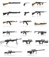 le icone stabilite della raccolta della pistola e dell'arma vector l'illustrazione