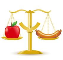 bilancia scelta dieta o obesità vettore
