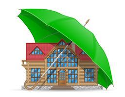 concetto dell'illustrazione di vettore dell'ombrello della sistemazione della casa protetta ed assicurata