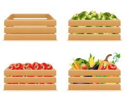 impostare la scatola di legno con illustrazione vettoriale verdure fresche e sane