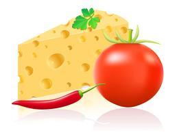 natura morta con formaggio e verdure illustrazione vettoriale
