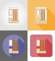 Illustrazione stabilita di vettore delle icone piane del corridoio della mobilia