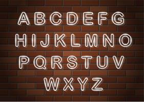 illustrazione vettoriale di alfabeto inglese lettere incandescente al neon