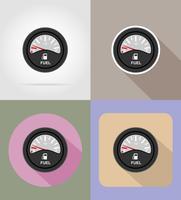 icone piane indicatore di livello carburante illustrazione vettoriale