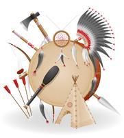 illustrazione di vettore delle icone di concetto degli indiani americani