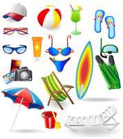 set per riposare su un sole mare e spiaggia vettore