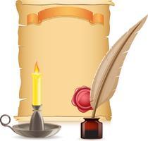 vecchia candela di carta conflagrant e piuma con inchiostri vettore