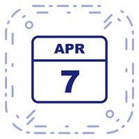 7 aprile Data su un calendario per un solo giorno